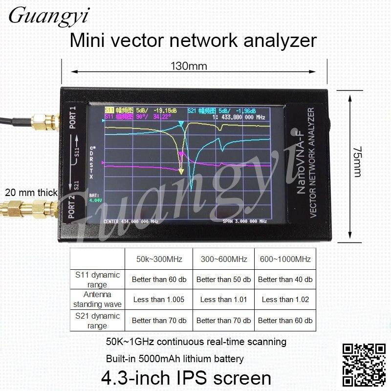 NanoVNA-F previsiones medidor SWR VHF UHF Analizador de antena + 4,3 IPS LCD + caja de Metal