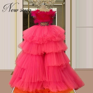 Saudi Arabia Rose Red Beaded Prom Dresses Cloud Feathers Formal Gown Aibye kaftans 2020 Robe Two Piece Evening Dress Dubai Gowns