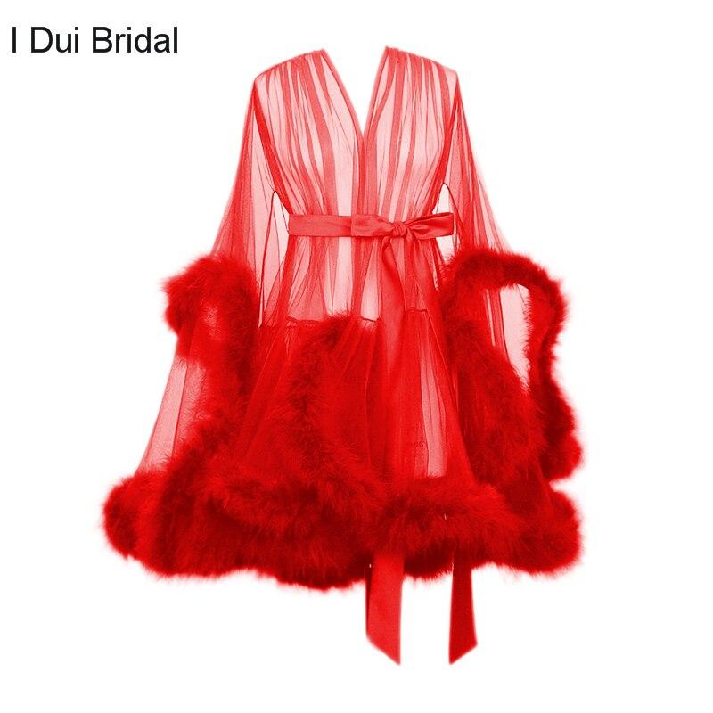 Robe plume courte avec bordures Marabou Robe de chambre Boudoir de mariée Robe transparente Tulle Illusion anniversaire Robe plume Costume