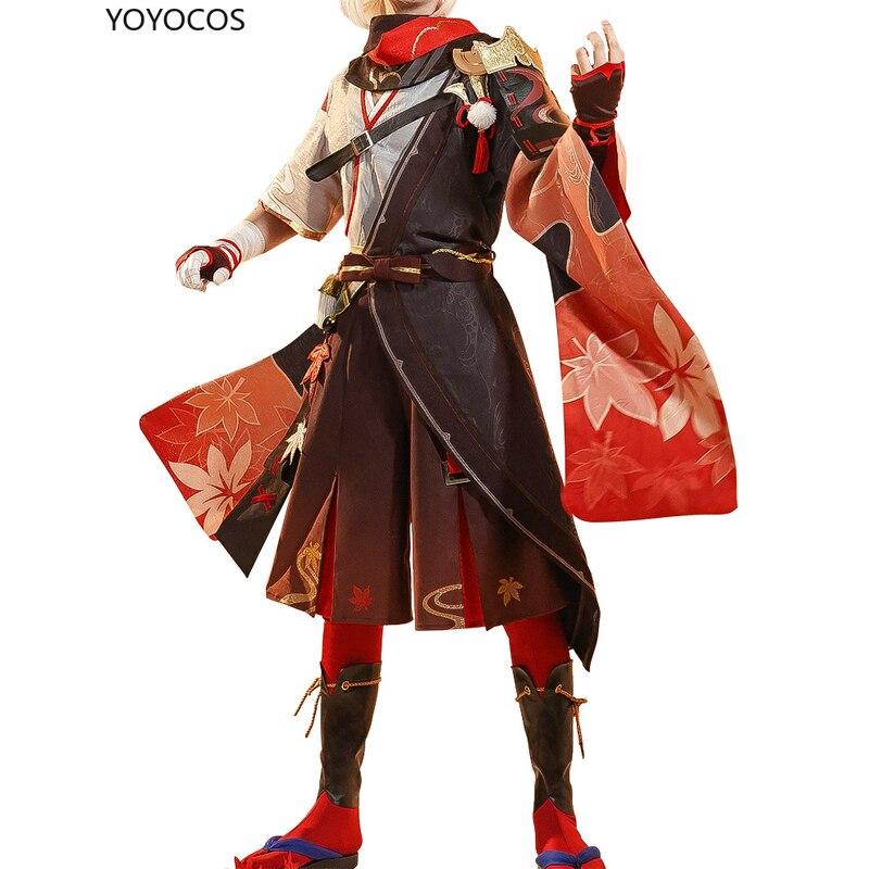 Conjuntos de Natal Dia das Bruxas Yoyocos Genshin Impacto Kaedehara Kazuha Cosplay Bonito Menino Traje Masculino Presente Jogo Roupas Novo