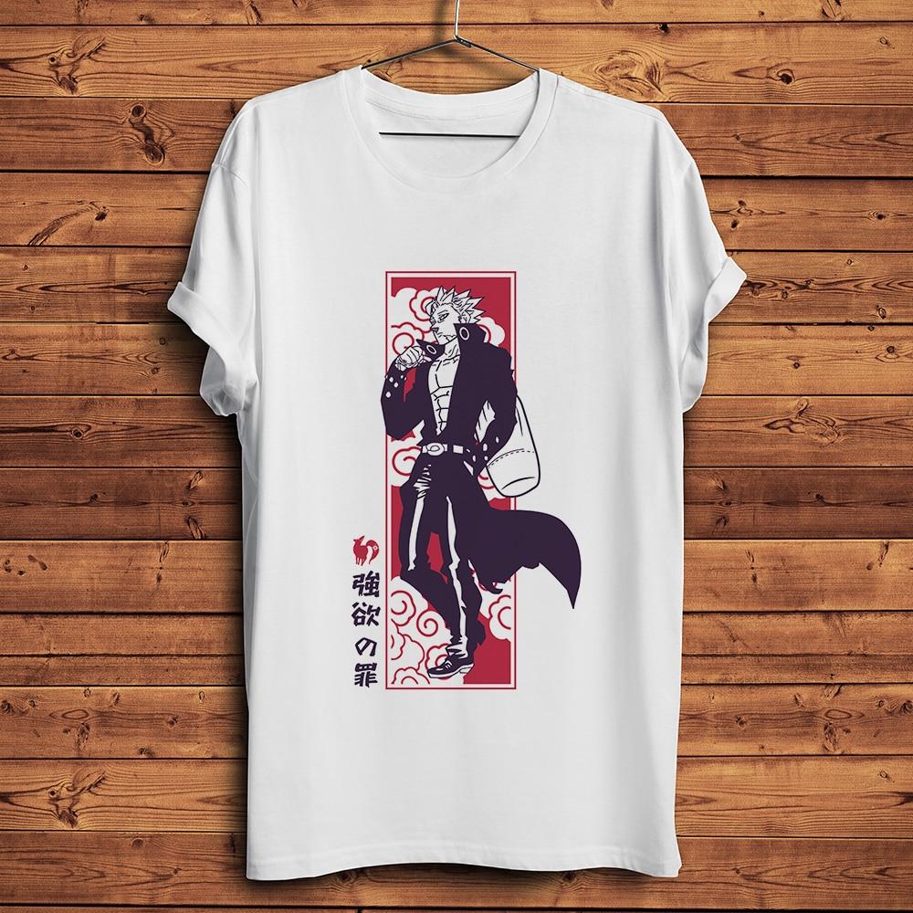 The seven deadly sins Ban Nanatzu no taizai funny anime t-shirt homme short t shirt men white casual tshirt unisex streetwear neil t anderson the bondage breaker overcoming negative thoughts irrational feelings habitual sins unabridged