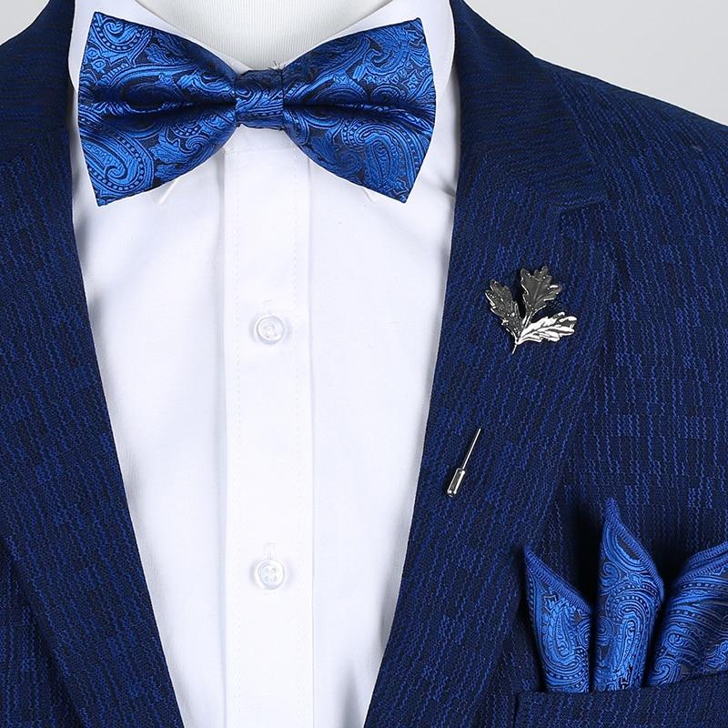 Brand New Men's Designer Flower Navy Paisley gravata borbolet Handkerchief Butterfly Bow Ties Set Royal Blue Suits Sets for Man