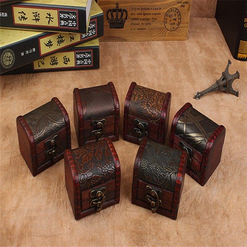 Caja de almacenamiento de joyería de madera, caja de almacenamiento de cerradura hecha a mano europea, Organizador Bix Cajones, Cofre del Tesoro de madera, joyería, brazalete, estuche de perla