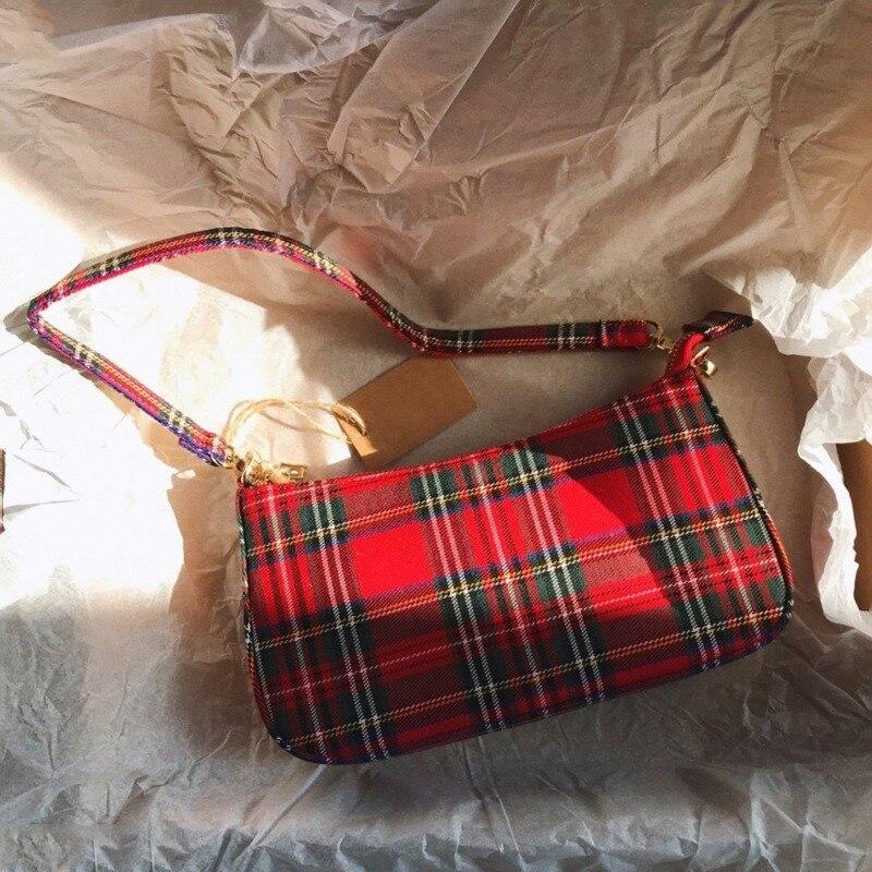 Gran oferta 2020 de bolsos retro Estilo vintage, bolsos de mano de diseñador para mujeres, bolso rojo a cuadros francés, bolsa pequeña elegante para mujer, bolso femenino % 10