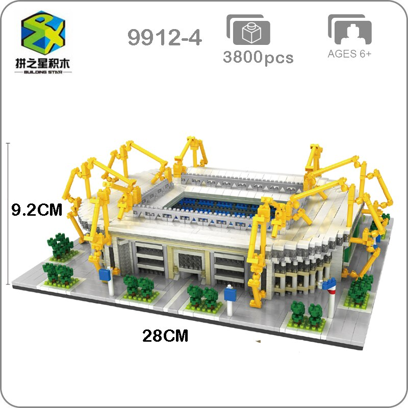 BS Borussia dortmundo Club de fútbol señal Iduna Park Stadium 3D modelo Mini Diamon construcción bloques pequeños juguete para niños no caja