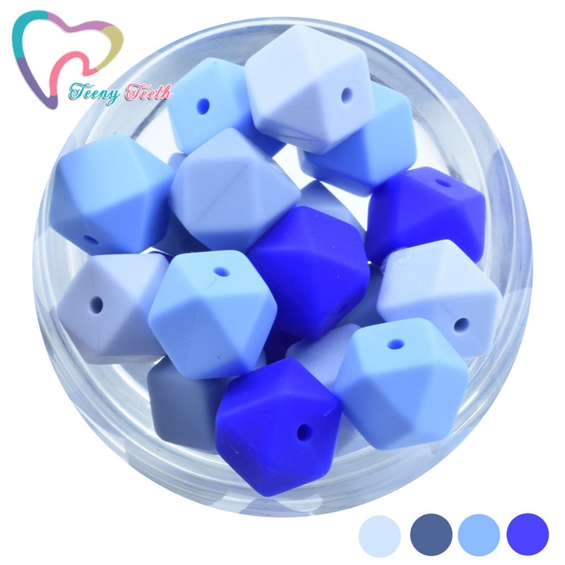 20 PCS 14 MM Mini Hexagon Silicone Teething Beads Baby Teether BPA Free DIY Necklace Pacifier Chain Baby Teething Care Infant