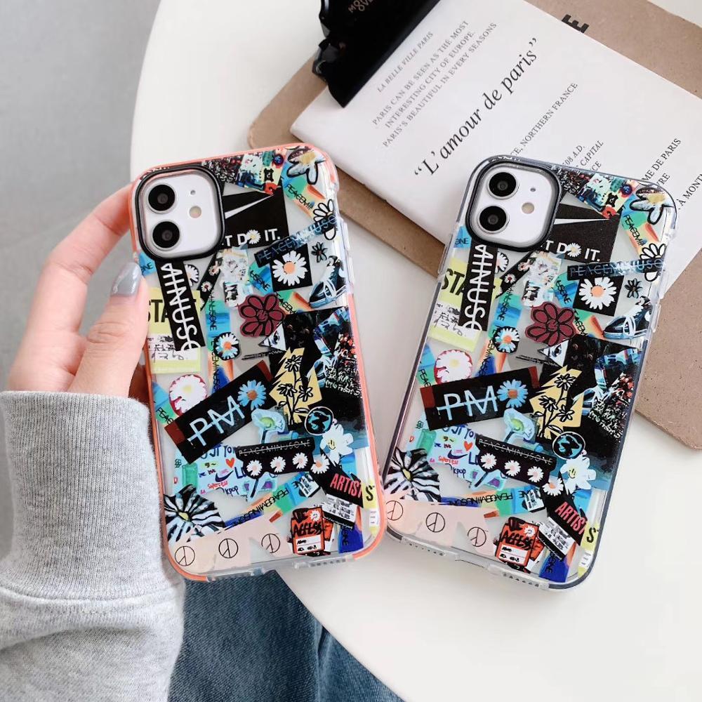 Ins elegante coreano peacinusone x fragmento flor etiqueta caso para iphone 11 pro x xs max xr 8 7 6 s plus capa de silicone macio