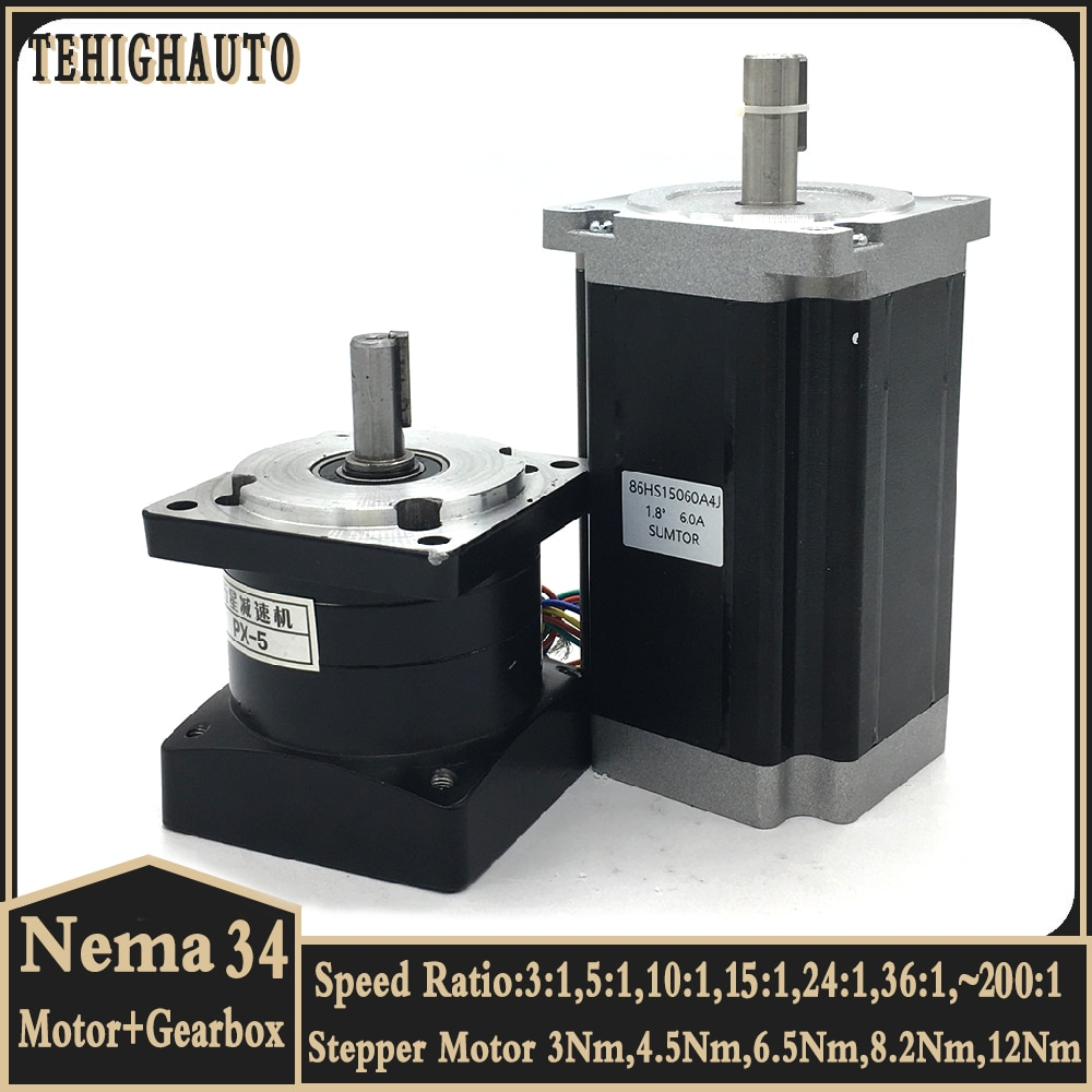 4.5Nm Nema34 Stepper Motor Reducer Kits 2phase 86mm Speed Ratio 3:1 5:1~200:1,Input 12.7/14mm Planetary Gearbox gear Motor kits