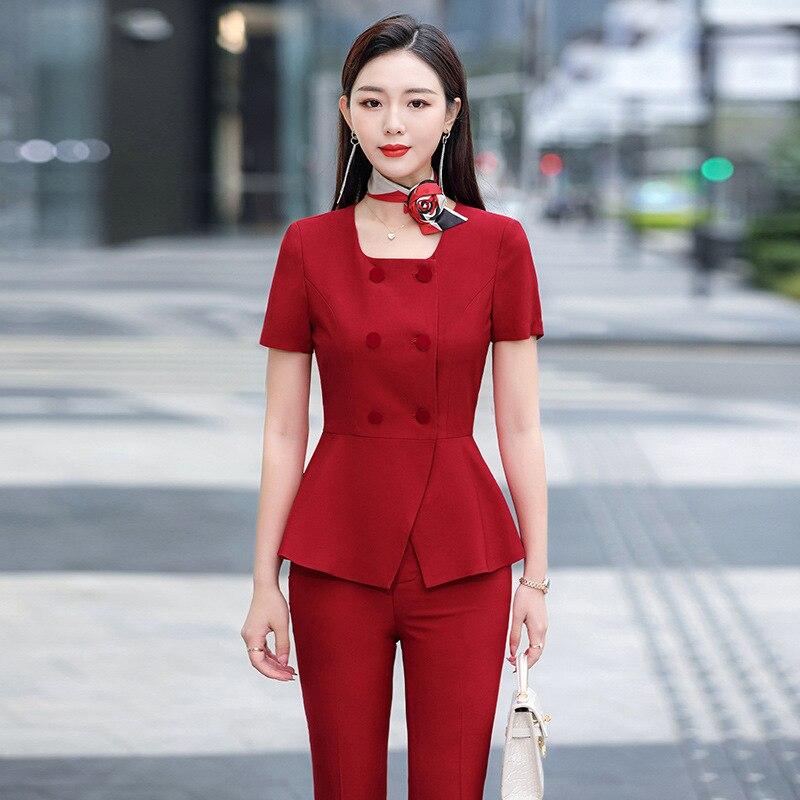 IZICFLY صيف نمط جديد أحمر سليم واحدة الصدر الأعمال 2 قطعة مجموعة النساء ملابس العمل السترة و السراويل أنيقة مكتب دعوى