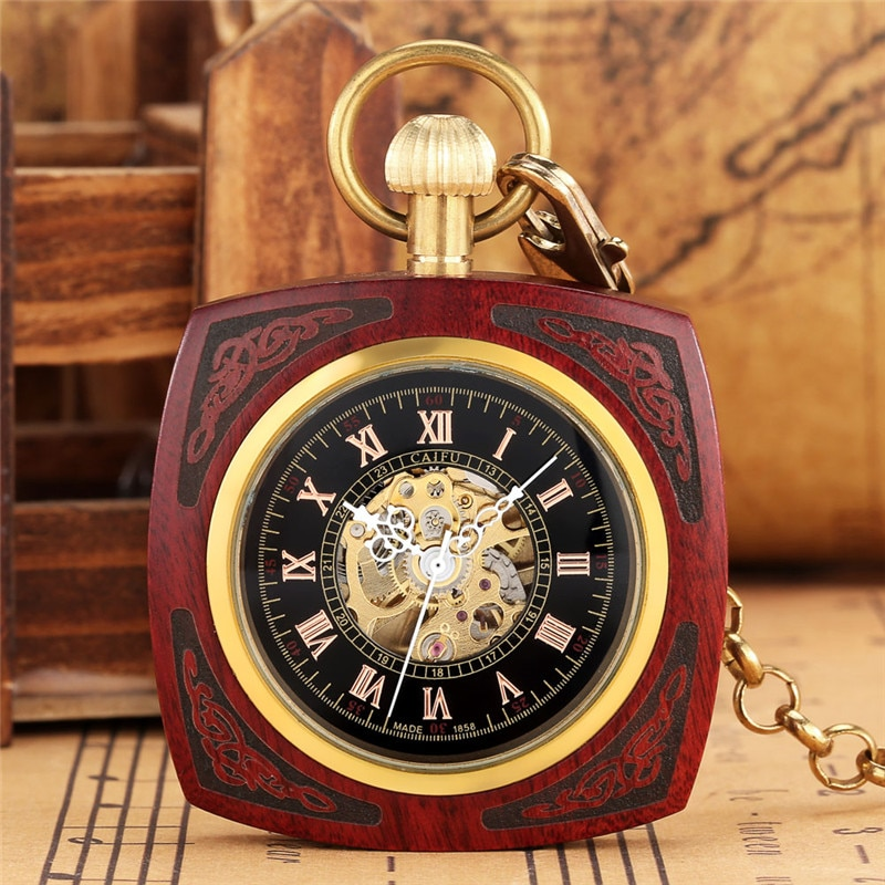Classical Square Case Red Sandalwood Automatic Mechanical Pocket Watch for Mens Womens Open Face Roman Number Clock with Chain