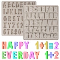 2pcs 3d silicone letter molds for chocolatenumber and symbols molds for candyhappy birthday cake decorations english alphabet