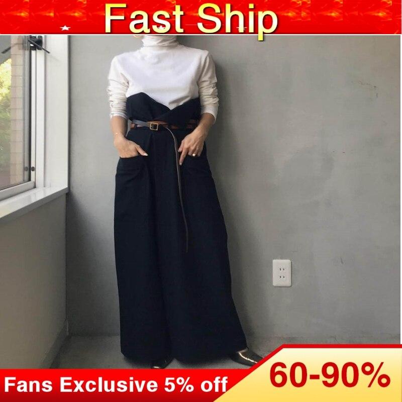 Mono holgado de piernas anchas para mujer coreano elegante Camiseta de manga larga blanca y tela vaquera de retales monos de moda traje largo