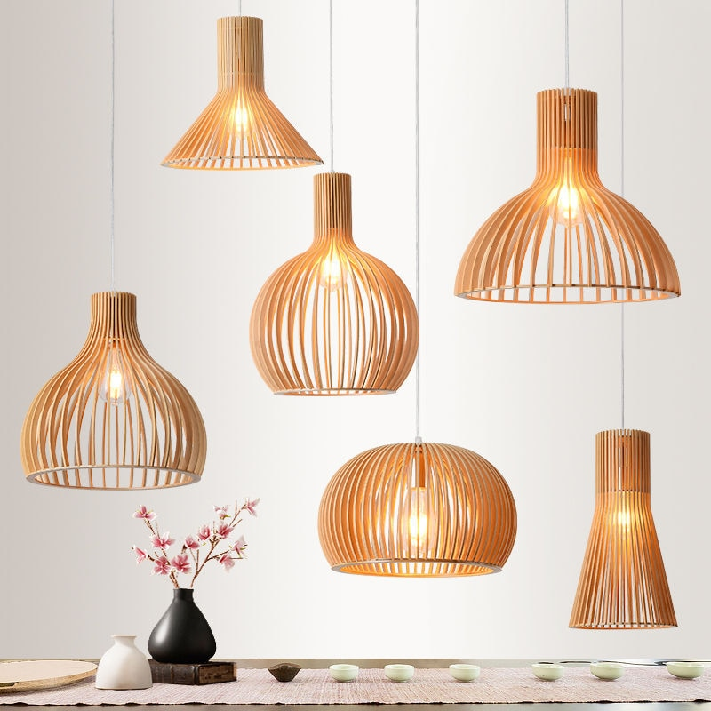 الحديثة يدوية الرجعية قلادة خشبية أضواء اليابان نمط الشاي غرفة droتحكم غرفة الطعام المنزل ديكو مصابيح لمطعم حديقة