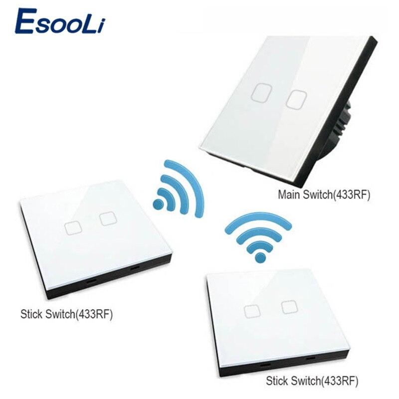Esooli-مفتاح حائط زجاجي كريستالي فاخر ، مفتاح لمس قياسي أوروبي ، 1 زر ، 2 زر ، عصا led