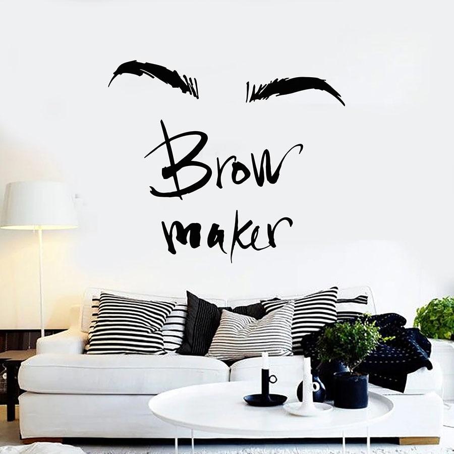 Autocollant Mural fabricant de sourcils   Étiquette de maquillage sourcils, maître Salon de beauté, décor intérieur, fenêtre en vinyle, autocollant mots dart, lettrage Mural C055