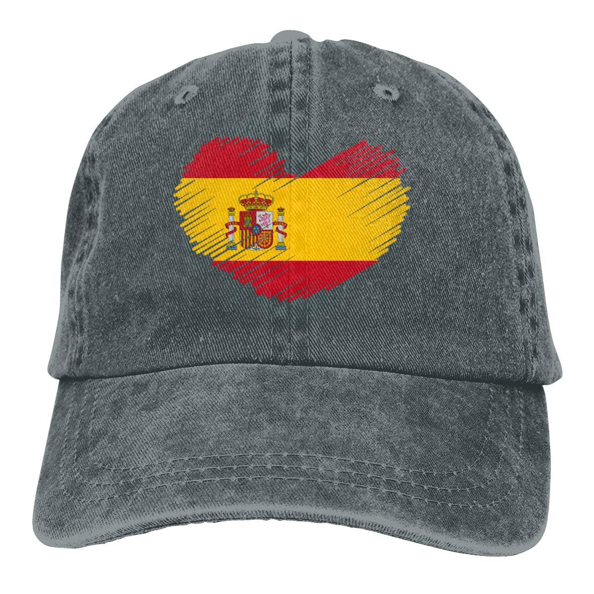 Gorra de béisbol de Denim teñida con hilo ajustable con bandera de España en forma de corazón gorra de hip hop