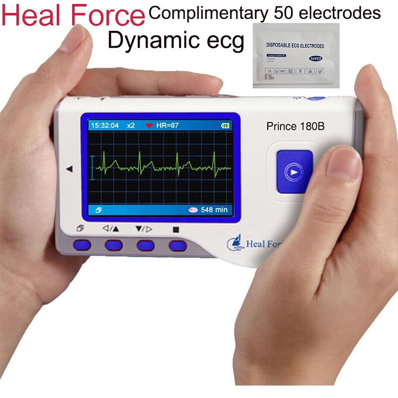شفاء قوة 180B ECG هولتر مراقب ، المحمولة EKG يده شاشة قياس القلب مع شاشة ملونة الحاضر 50 قطع القطب