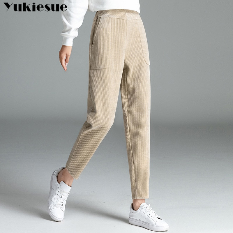 Pantalones harén de pana para mujer, calzas casuales de cintura alta, elásticos,...