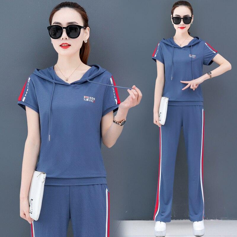 Tamanho grande manga curta com capuz camisola de duas peças moda terno 2020 nova moda coreana solto verão feminino yiciya