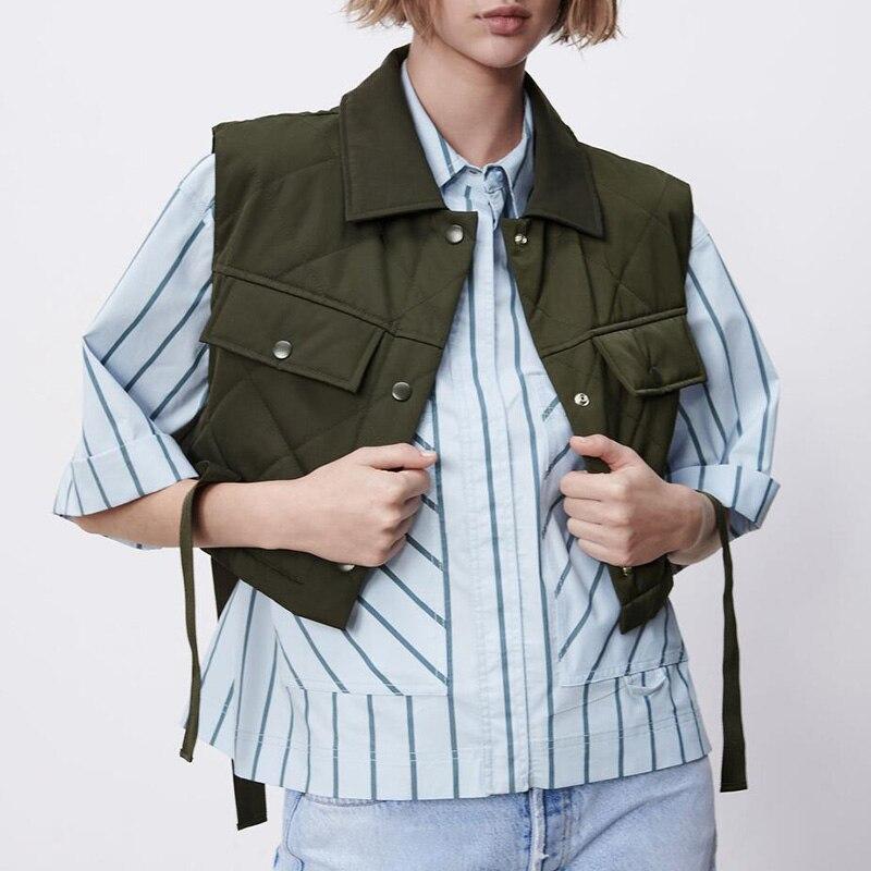 Camiseta sin mangas de Color liso abrigo de un solo boton sin...