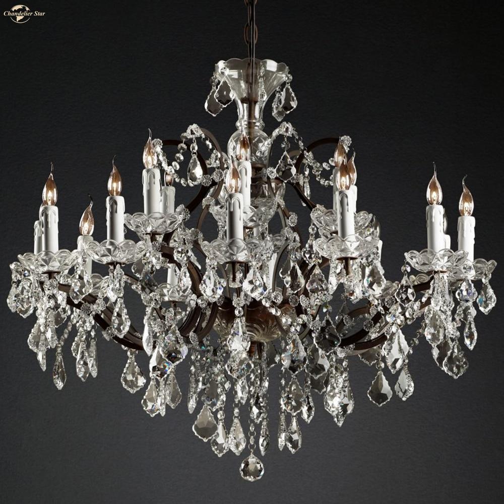 19th C. Rococo LED الثريات خمر K9 كريستال شمعة المعادن مصابيح ديكور غرفة نوم غرفة المعيشة مزرعة داخلي أضواء تركيبات