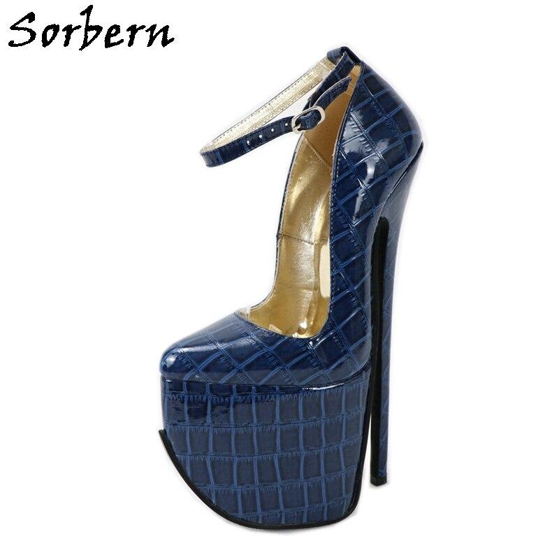 Sorbern-حذاء نسائي بكعب عالٍ 9.5 بوصة ، حذاء نسائي بكعب عالٍ بتأثير التمساح ، 2020