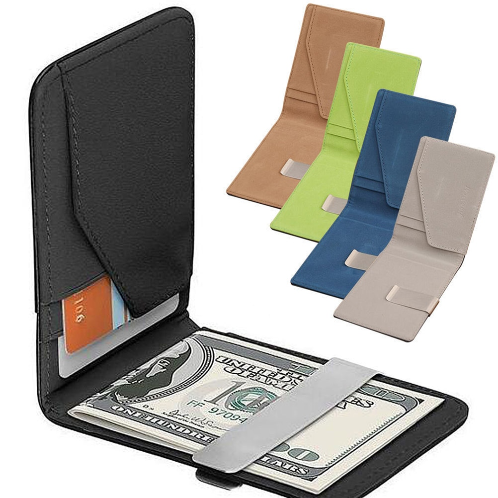 Mens Slim Wallets Black ID Credit Card Holder PU Leather Silver decompression anion pu leather non allergy bracelet silver black coppery