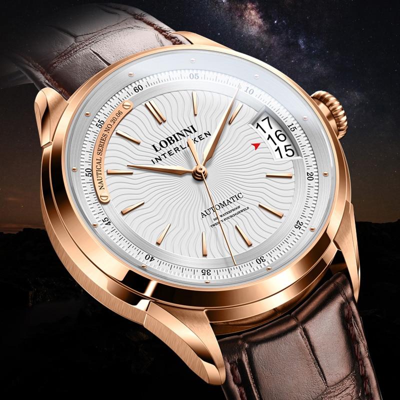 سويسرا العلامة التجارية الفاخرة LOBINNI ساعة يابانية التلقائي الميكانيكية الرجال الساعات الياقوت 50 متر ساعات جلدية مقاوم للماء L17522