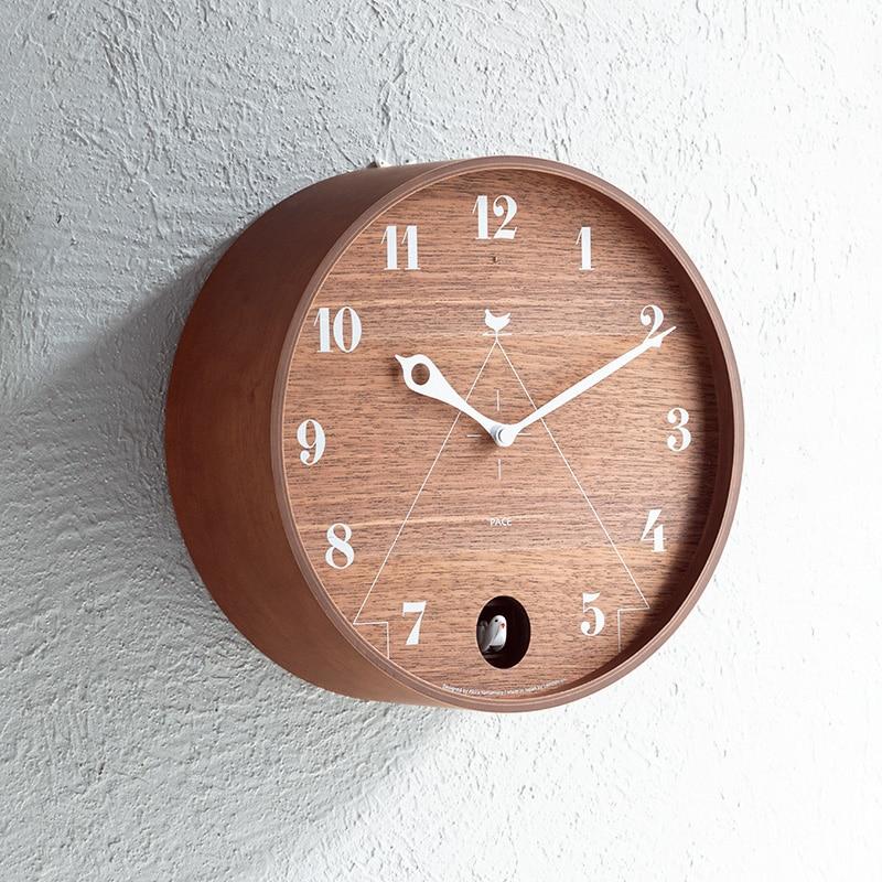 Nordic Cuckoo Wall Clock Wood Modern Luxury Expensive Round Silent Quartz Loft Style Minimalist 3D Watch Duvar Saati Birds Timer