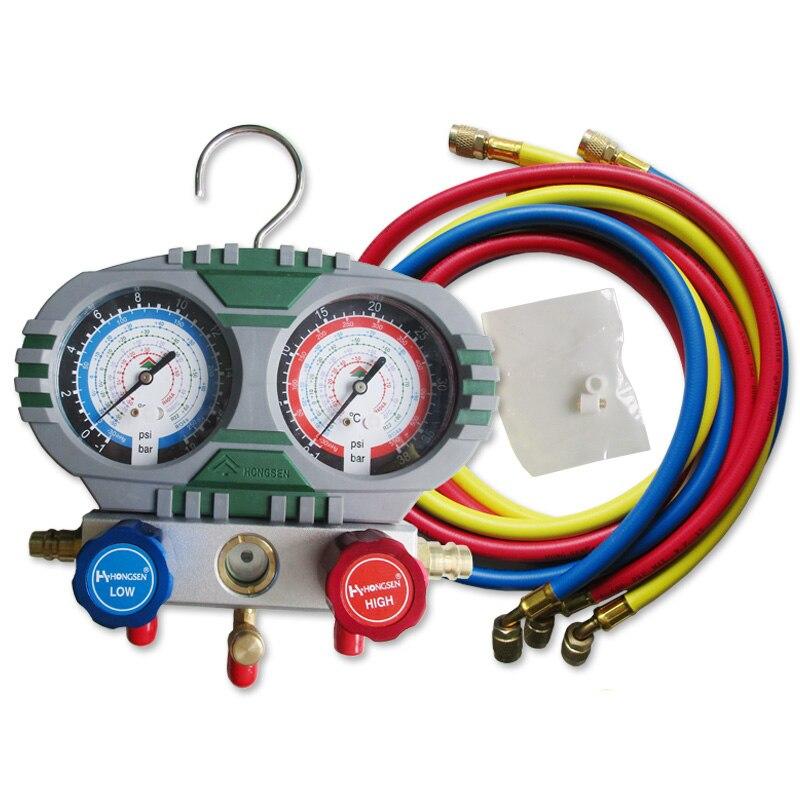 Ferramentas de reparo ar condicionado do carro ar condicionado refrigerante medidor e flúor tabela HS-S60-101 mahifold calibre