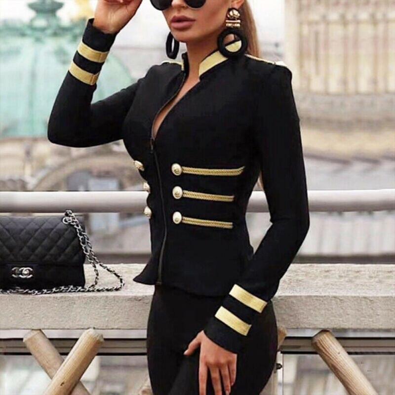 Куртка женская на молнии, приталенная короткая мотоциклетная куртка на пуговицах, пикантная мягкая верхняя одежда в стиле милитари, золоти...