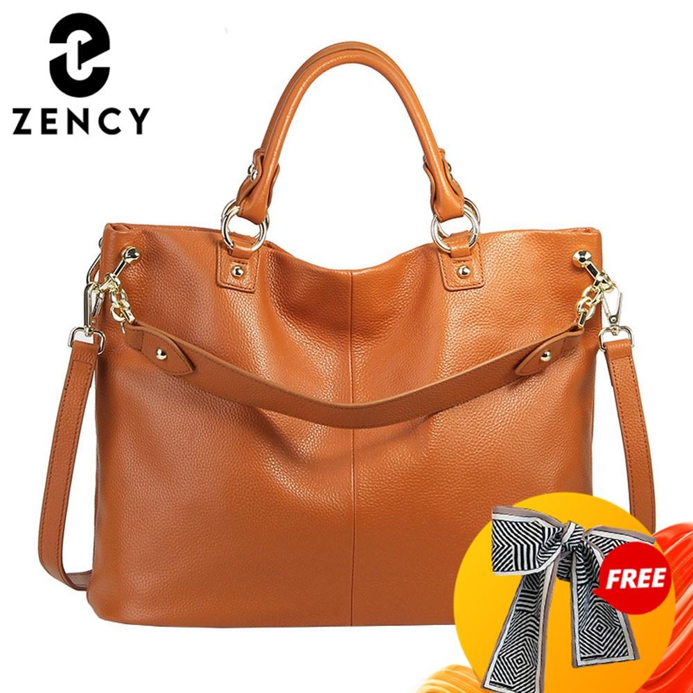 Zency 100% Genuine Leather Grey Handbag Brown Women Casual Tote Large Capacity Lady Crossbody Messenger Purse Black Hobos Bags