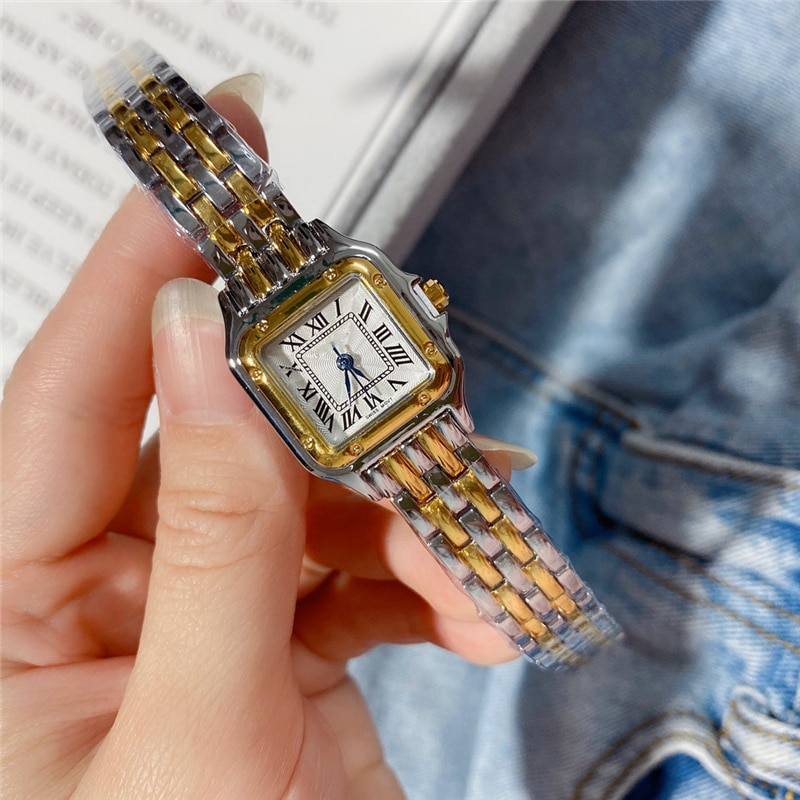 Brand  Woman quartz watches gold and silver mixed square watches luxury gift wrist clock small size watches