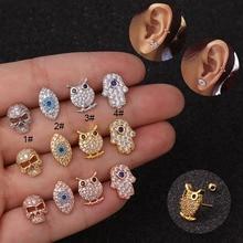 1pc New Cartoon Owl Eye Ear Cartilage For Women Stainless Steel Zircon Piercing Earring Helix Puncture Tragus Jewelry