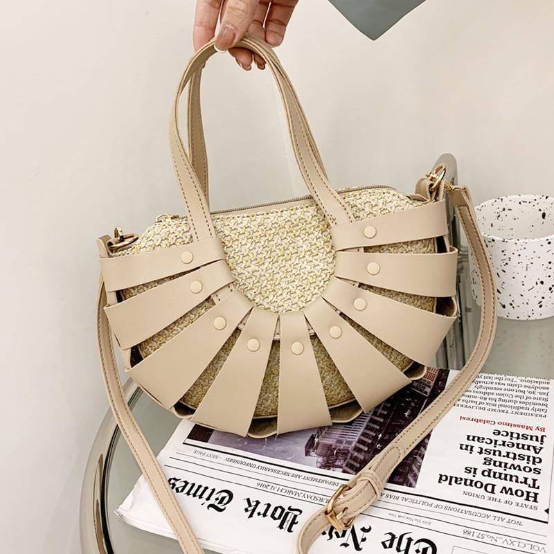 Luxury Designer Handbag Women Hollow Out Half Moon Totes Bag Vintage Pu Leather Shoulder Bags Female Unique Straw Crossbody Bag