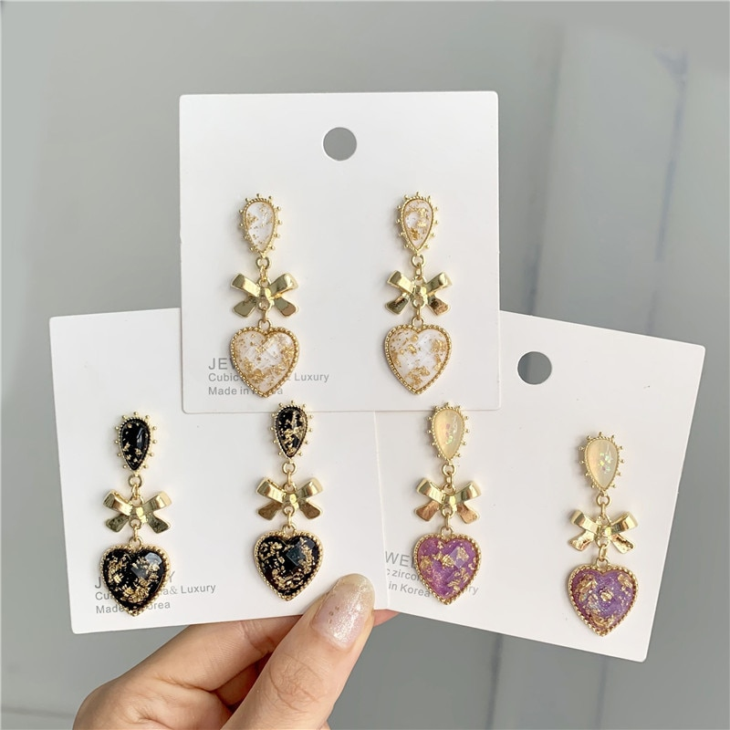 Bow-knot Heart Resin Clip Earring Korean Classic Style Sweet Long Earrings For Women Dress Party Jewelry Accessories