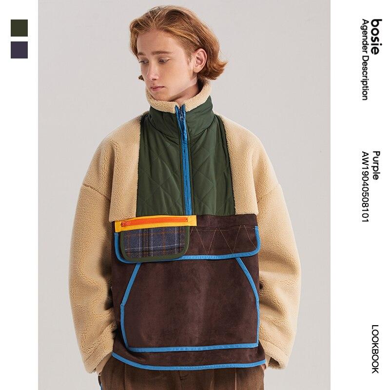 Женская куртка с хлопковой подкладкой bosie, модная парная куртка с хлопковой подкладкой, повседневный пуловер из овечьей шерсти, утепленное ...