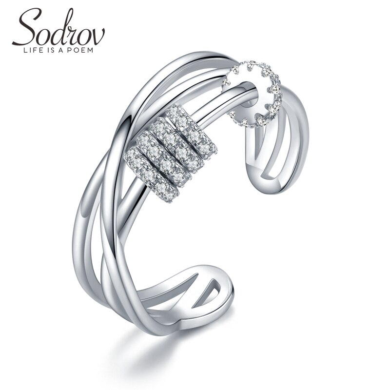 Anillos de dedo clásicos sin plata de ley 925 de Sodrov, anillos ajustables abiertos para mujeres, joyería de boda