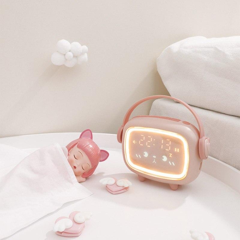 مصباح ليلي رقمي ذكي مع منبه رقمي ، مفتاح Usb ، باهتة ، ضوء ليلي ، مثالي لغرفة النوم أو طاولة الأطفال.