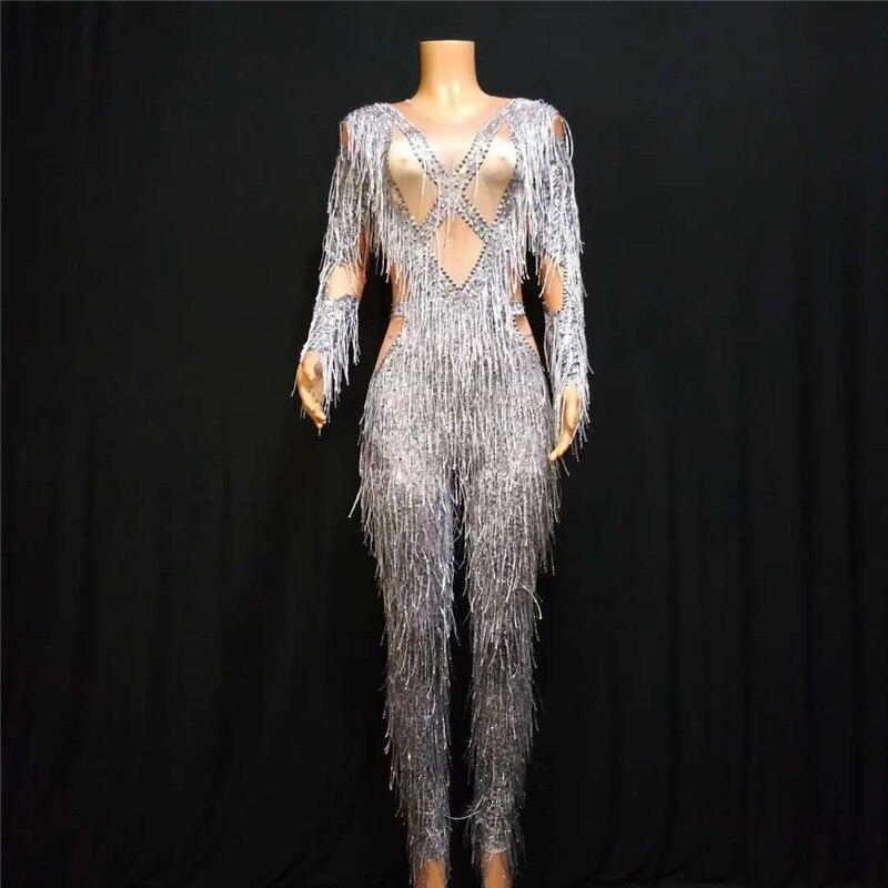 S18 trajes de palco de dança de salão cinza borlas impresso macacão cantor estiramento feminino collants ds cristal outfit barra usa