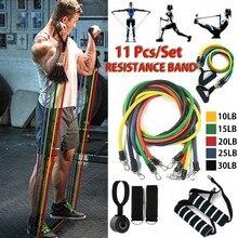 Banda con tubos de resistencia para Fitness, cuerda elástica para gimnasio, Yoga, 11 unids/set, anclaje expansor para puerta de entrenamiento de ejercicio con mango para deporte en el tobillo