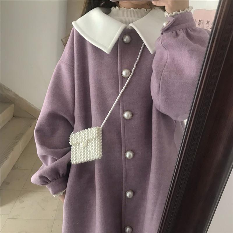 Long Style Wool Women Purple Japanese Style Student Preppy Chic Long Sleeve Sweet Harajuku All-match Streetwear Girls Overcoat