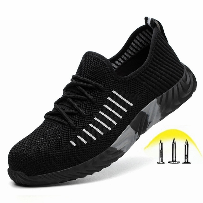 Men's Steel Toe Cap Safety Shoes Puncture-Proof Work Boots Breathable Lightweight Outdoor Sneakers Comfortable Shoes for Men