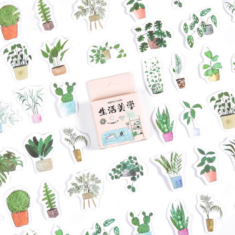 46-unids-caja-verde-pegatinas-de-plantas-pegatinas-de-diario-de-recortes-adhesivos-de-cuadernos