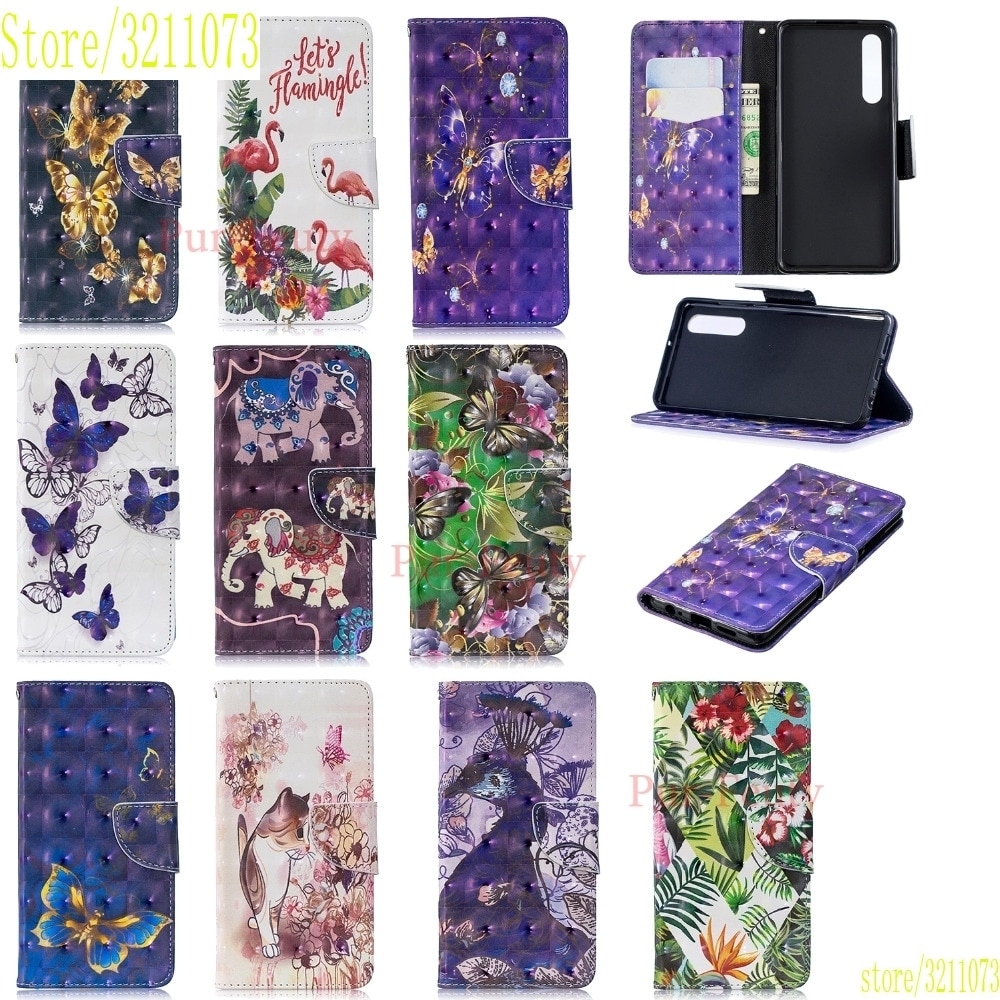 Funda para Huawei P30/P30 Pro/P30 Lite MAR LX1 LX3 L21 L23 brillante 3D pintado cuero cartera soporte magnético dibujos animados Flip Cover