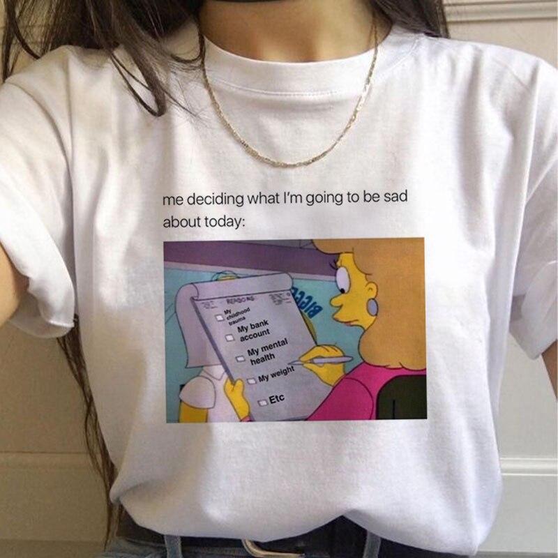 Roupas vintage dropshipping vegan tamanho coisas estranhas depressão cérebro harajuku camiseta feminina casual novas mulheres topos