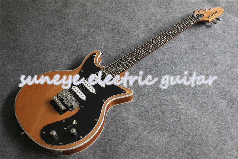 Guitarra eléctrica con acabado brillante de madera Natural, Guitarra con trémolo cromado,...