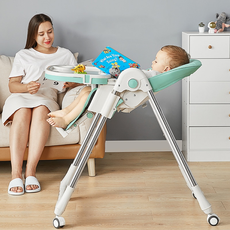 High-foot feeding chair children dining chair foldable Multifunctional portable Household baby dining table and chair enlarge