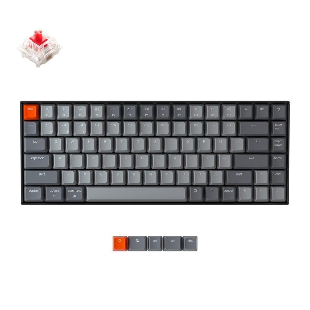 Keychron K2 A V2 بلوتوث لوحة المفاتيح الميكانيكية ث/Gateron الأحمر التبديل/أبيض LED الخلفية 84 مفتاح لوحة المفاتيح اللاسلكية لماك ويندوز