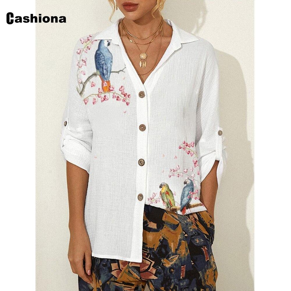 Plus size 3xl Women Latest Casual Shirt Long Blouse 2021 Summer Linen Top Long Sleeve Boho Bird Flower Print Ladies Tunic blusas plus allover bird print ruffle sleeve top